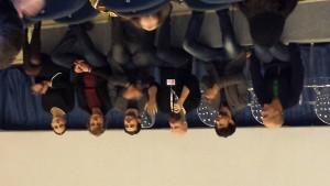 """Il cast del film """"Wax: We are the X"""" con al centro il regista Lorenzo Corvino e da sinistra gli attori Gwendoline Gouvernec, Andrea Renzi e Andrea Sartoretti."""