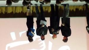Alessandro Siani durante il suo divertente intervento con la presidente Agis in compagnia dei conduttori Sergio Friscia e Lorena Bianchetti.